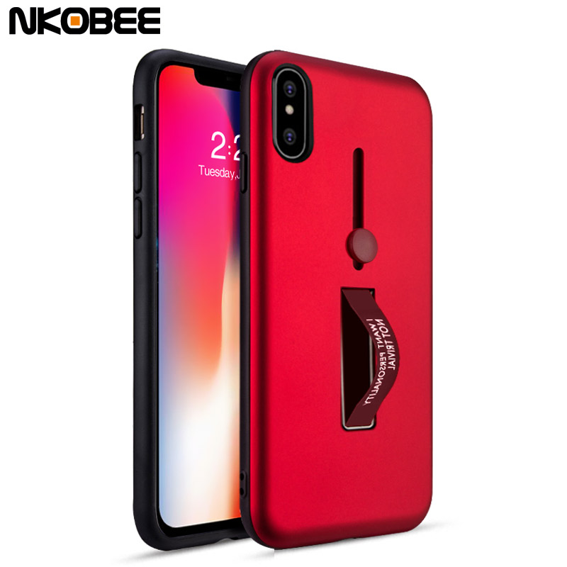 sports shoes e50c3 1cfae US $4.99 |NKOBEE For iPhone X Case Silicone TPU Hard Back Cover For iPhone  X 5.8 Ring Case With Stand Coque For iPhoneX Case Accessories-in Fitted ...