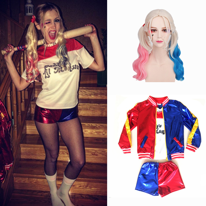 Adult Women Suicide Squad Harley Quinn Costume Ladies Party Dress Purim Halloween Joker Costumes Jacket T-shirt Shorts Suit Set