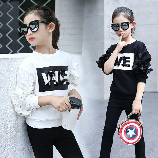 NEW Girls Long Sleeve T Shirt Korean Fashion Trend Children Casual Letters Ruffle