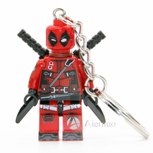 190 Deadpool Super Hero Keyring Minifigures Keychain Custom Ring Keychains Handmade Key Chain Building Blocks Toy