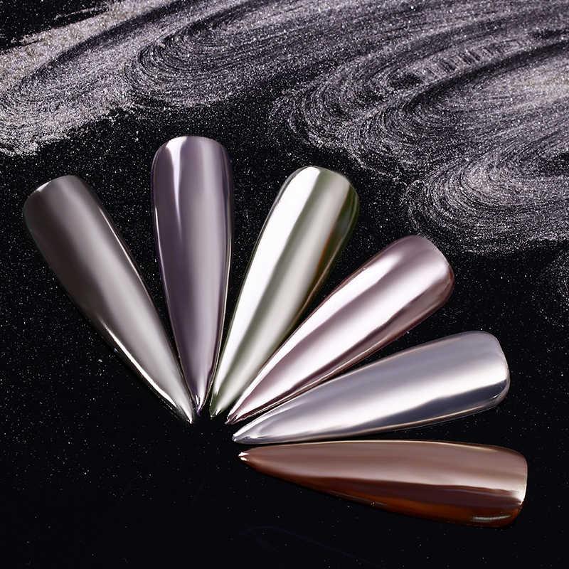 เล็บ Mirror Glitter ผงผงสีเมทัลลิค Chrome ผงสีฝุ่นเล็บตกแต่งเล็บสำหรับเจลเจล