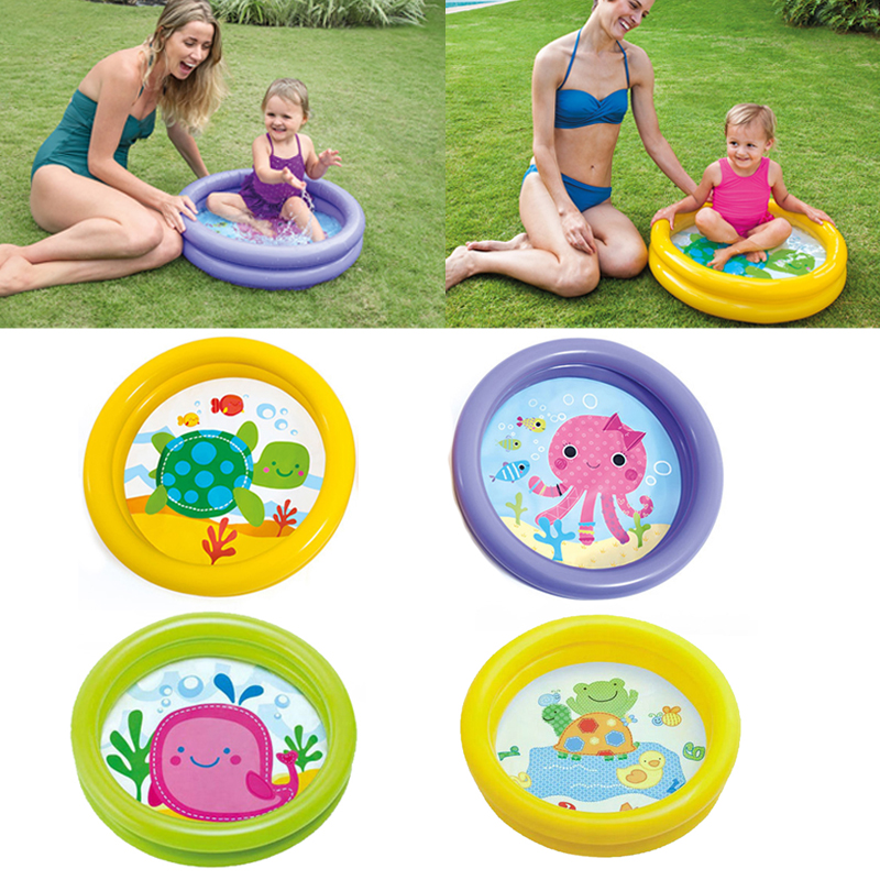 Portable <font><b>Baby</b></font> Inflatable Swimming <font><b>Pool</b></font> Cartoon Round Basin Water Bathtub Soft Air Cushion Outdoors Summer Water Playing Toys image