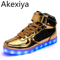 Hot Sale Golden Silver Big Size 46 Led Shoes Men Glowing Cool Light Flat Shoes High