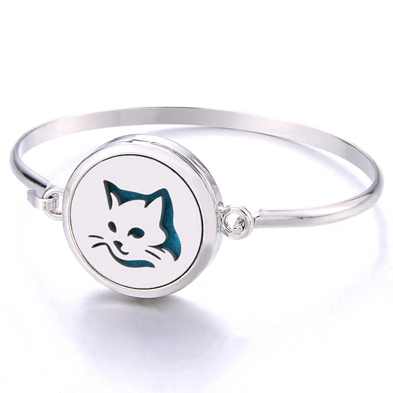 Cat pattern Aroma box Bracelet stainless steel Essential Oil Diffuser Perfume Aromatherapy spread Bracelet interesting gift