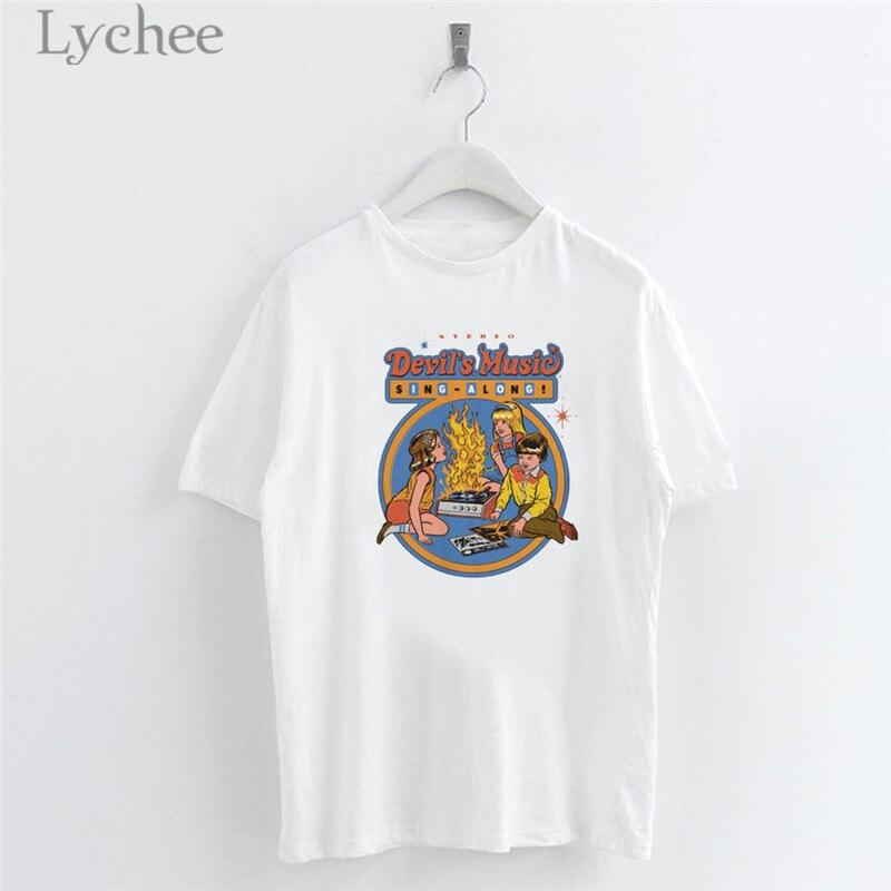 Lychee Harajuku Letter Cartoon Print Women T Shirt Short Sleeve O-Neck Casual White T Shirt Tee Top Female