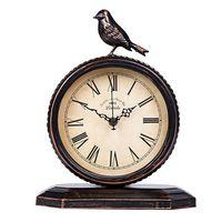 American Country Retro Wrought Iron Mute Clock Fashion Personality European Desktop Clock Bedside Table Antique Clock Bird Clock