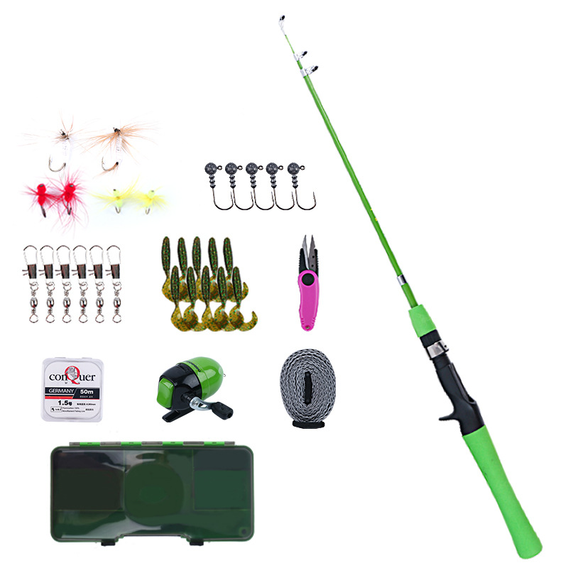 Children's lure pole set Mini fishing rod set Beginner fishing set