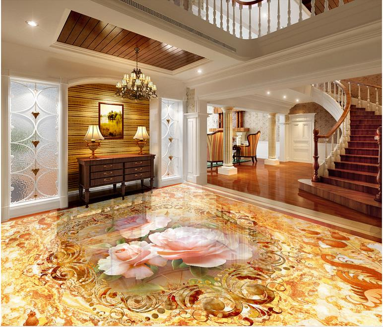 luxury 3d floor painting Custom waterproof-wallpaper-for-bathroom 3d flooring Flower marble self-adhesive wallpaper 3d floor abstract spiral staircase wallpaper custom laminate flooring waterproof self adhesive waterproof 3d floor vinyl