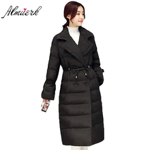 New winter feather cotton coat girl Collect waist Solid color warm Female parkas Long lapel women winter jacket outecrwear YZ273