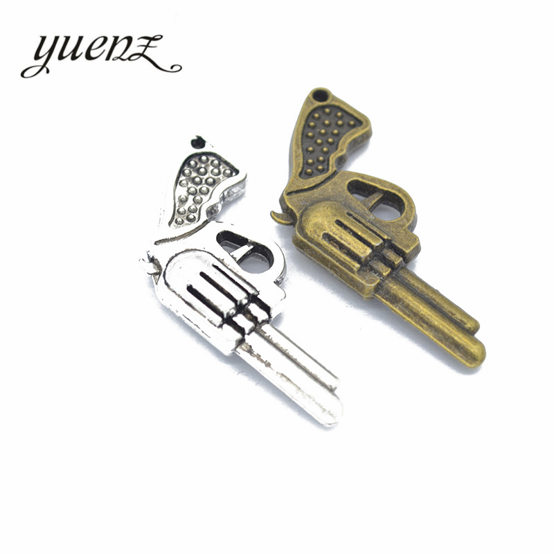 YuenZ 3 pcs Antique silver pistol Charm Pendants for Bracelet Necklace Jewelry Accessories Diy Jewelry Making 40*22mm M11 image