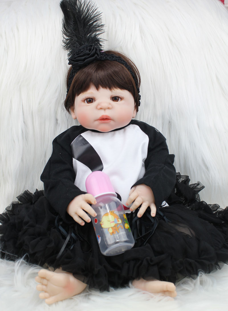 55cm Full Silicone Body Reborn Baby Doll Toys Lovely Newborn Princess Toddler Girls Babies Doll Birthday Gift Present Bathe Toy full silicone body reborn baby doll toys lifelike 55cm newborn boy babies dolls for kids fashion birthday present bathe toy