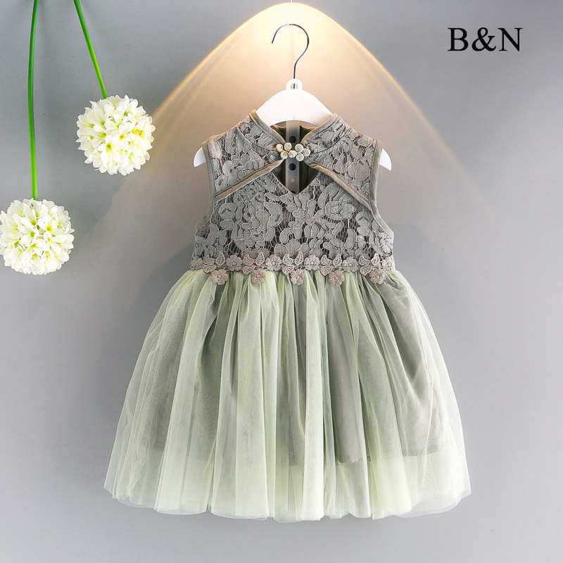 B & N выдалбливают цветочные девочка Платья для женщин Летняя Детская Платья для женщин Симпатичная одежда для маленьких девочек Cheongsam Стиль ... ...