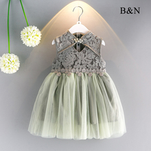 B&N Hollow Out Floral Girl Dresses Summer Children Cute Baby Clothes Cheongsam Style Lace Childrens