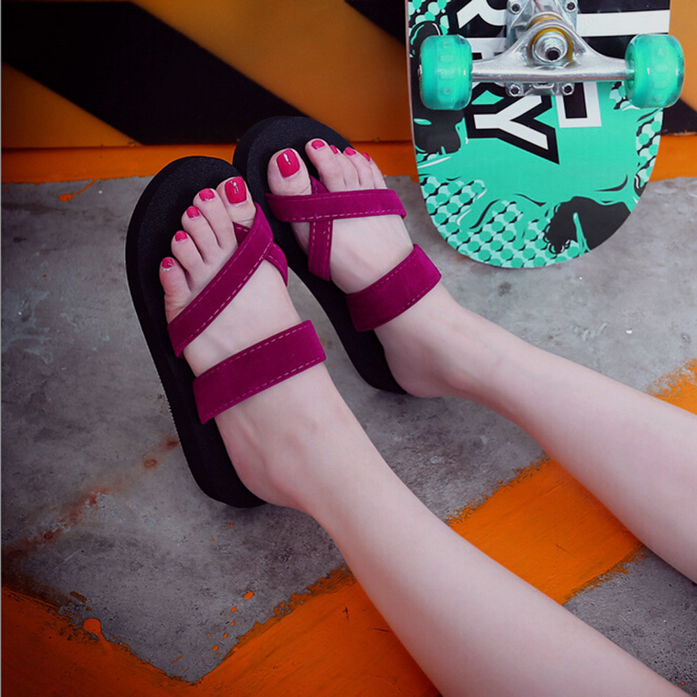 Ladies Casual Flats Shoes Outdoor Flip Flops Summer Beach Sandal Slippers Women Slippers Sapato Feminino(China)