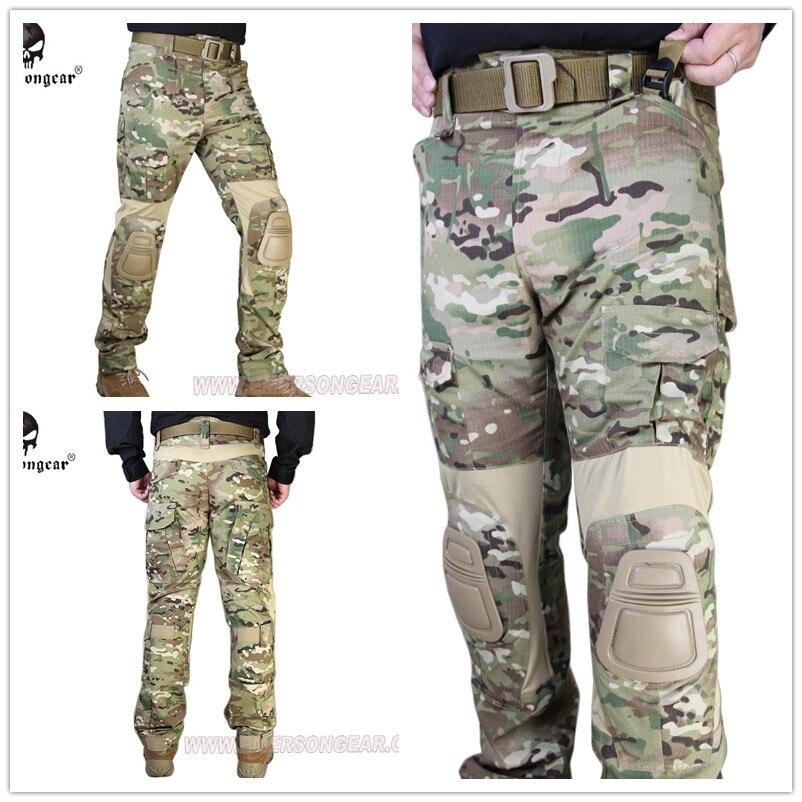 Emerson G2 pantalones tácticos con rodilleras Airsoft entrenamiento de combate Multicam EM7038MC
