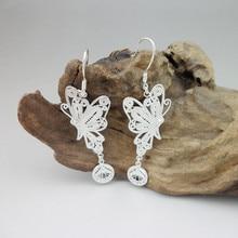 Drop Dangle 999 Sterling Silver Butterfly Earrings For Women Fashion Chinese Earings Handmade Ethnic Jewelry Fringe