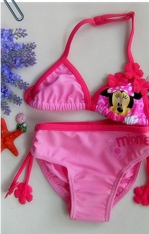 Retail Girl minnie mouse swimsuit Two-Piece Bikini for children beach wear bathing suit summer UPF 50+ for 1-9 Year RT104