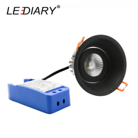 LEDIARY 90mm Dimmable LED Spot Round Black Downlights Fitting Anti glare 5W 10W 15W 220V Living Room Recessed Ceiling Spot Lamp