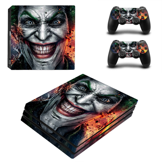Joker Man pegatina para piel de diseño para Sony Playstation 4 Pro consola y 2 uds controlador de piel Calcomanía para PS4 Pro accesorios de juego