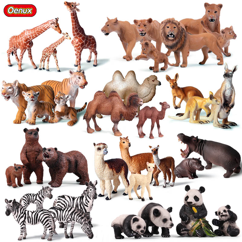 Oenux High Quality Wild Animals Model Tiger Lions Elephants Zebra Animal Action Figures African Animals Family Model Set Toys