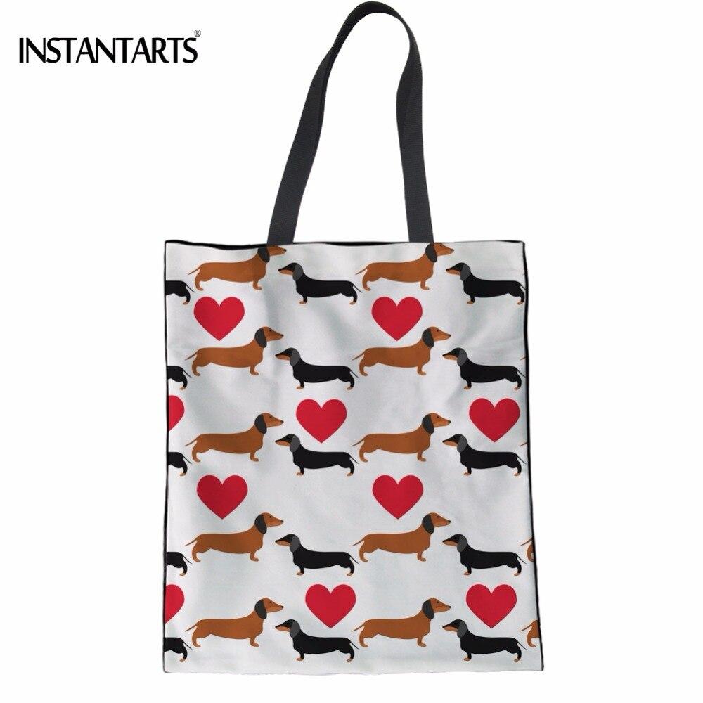 Instantarts милые щенки такса печати Для женщин хлопка сумки Повседневное девочек-подростков студенты Bookbags Мода утилизации сумка