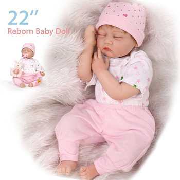 55cm Silicone Vinyl Reborn Baby Dolls Toy Kids Children Playmate Doll Toy Soft Real Touch Toys For Girl Birthday Gifts
