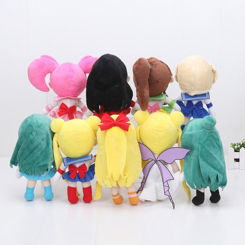 9 sztuk/partia 20 cm Sailor Moon pluszowa zabawka Tsukino Usagi śliczne Sailor Mercury miękkie nadziewane lalki japoński Anime kolekcja prezenty dla dla dzieci w Filmy i telewizja od Zabawki i hobby na  Grupa 2