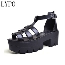LYPO 2018 South Korea s harajuku school of women s shoe fish mouth high  heel thick base muffin 50f4e9c147e8