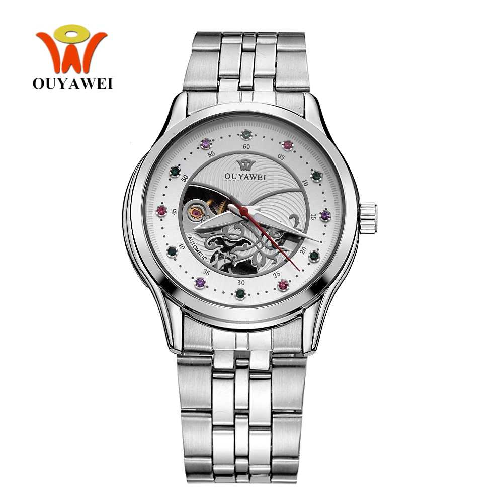 2017 Automatic Mechanical Women Wristwatch montre femme Steel band White Fashion Skeleton Self Winding Lady Dress Watches Gifts