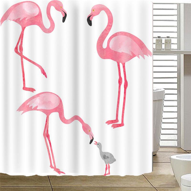 Red Flamingo Bird Bathtub Bathroom Fabric Shower Curtain with 12 Hooks High Quality Waterproof Mildewproof Drop Shipping AP19