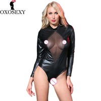 OXOSEXY New Porn Teddy Sexy Lingerie Hot Leather Women Sexy Costumes Black Perspective Pole Dance High