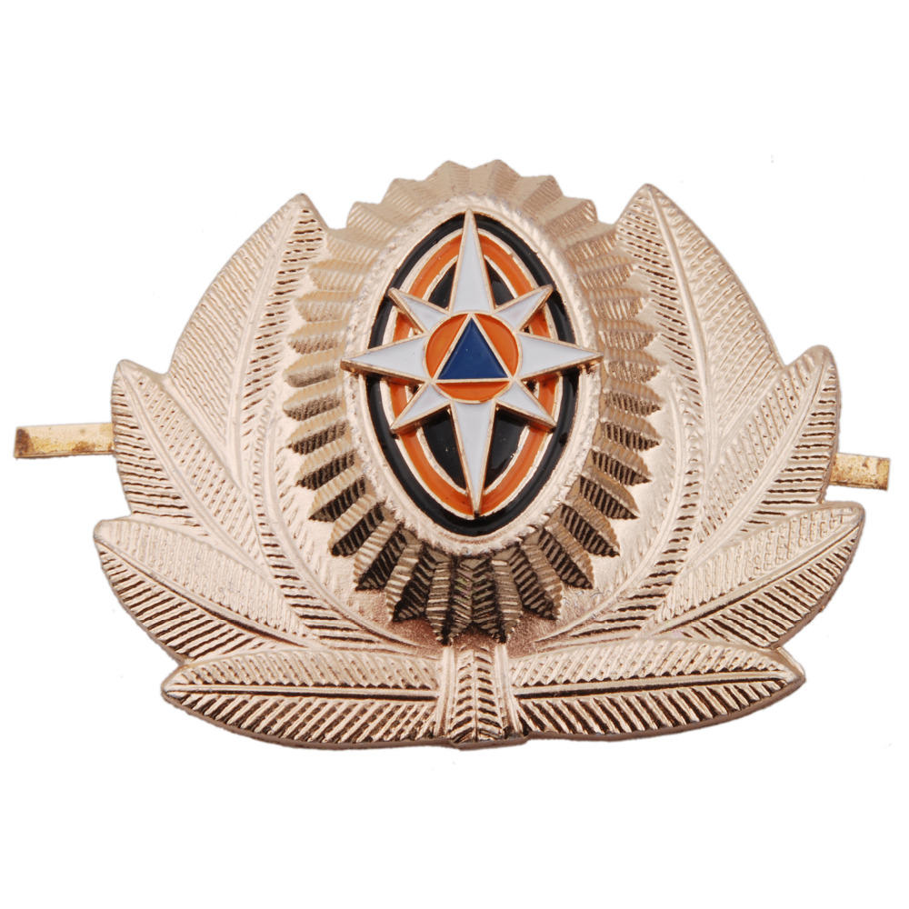 RUSSIAN EMERGENCY SITUATIONS MINISTRY METAL CAP HAT BADGE COCKADE - 36280