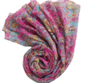 100% Natural scarf tactical Printed Pink floral viscose scarves foulard avec bijou fashionable flowers hijab caps