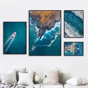 Image 3 - Meer Insel Strand Boot Zitate Landschaft Wand Kunst Leinwand Malerei Nordic Poster Und Drucke Wand Bilder Für Wohnzimmer Decor