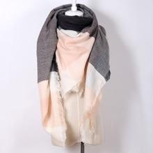 Wholesale 2017 woman s new Winter Scarf Oversize Square Plaid Shawl Acrylic Warm Blanket Scarf free
