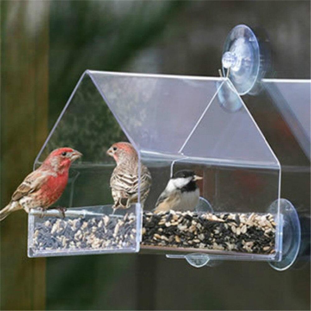 Papagei Lovebird Kanarischen Voliere Transparente Fenster Outdoor Vogel Feeder Für Vögel Fütterung Container Für Lebensmittel Taube Haustier Liefert