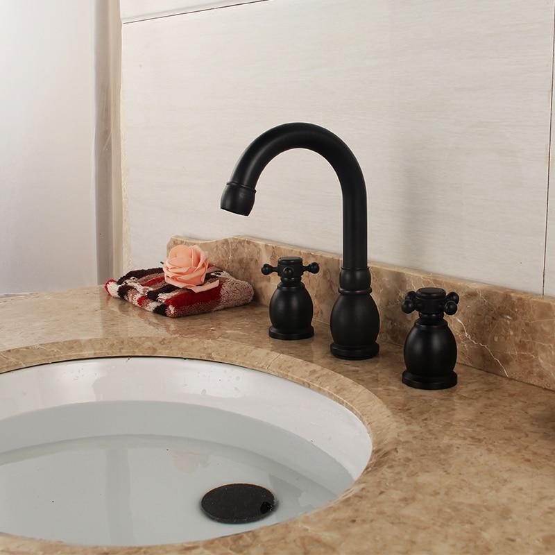 4 Type Brand Quality Black Basin Faucets Bathroom Tab Dual Handle Pure Copper Ceramic Plate Spool Torneira Bathroom Accessories