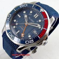 Novo 41mm bliger azul dial gmt mão marcas luminosas cerâmica moldura de vidro safira data relógio automático dos homens b244