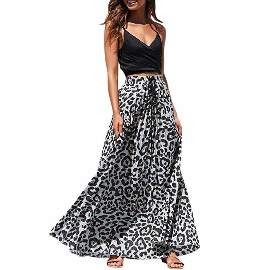 Женская длинная юбка SAGACE с леопардовым принтом повседневная Пляжная завязками