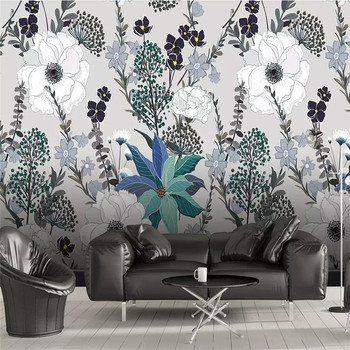 3D wallpaper European style hand-painted tropical plants leaves flowers background wall professional production mural photo wall romantic mediterranean style background wall professional production mural wholesale wallpaper mural poster photo wall