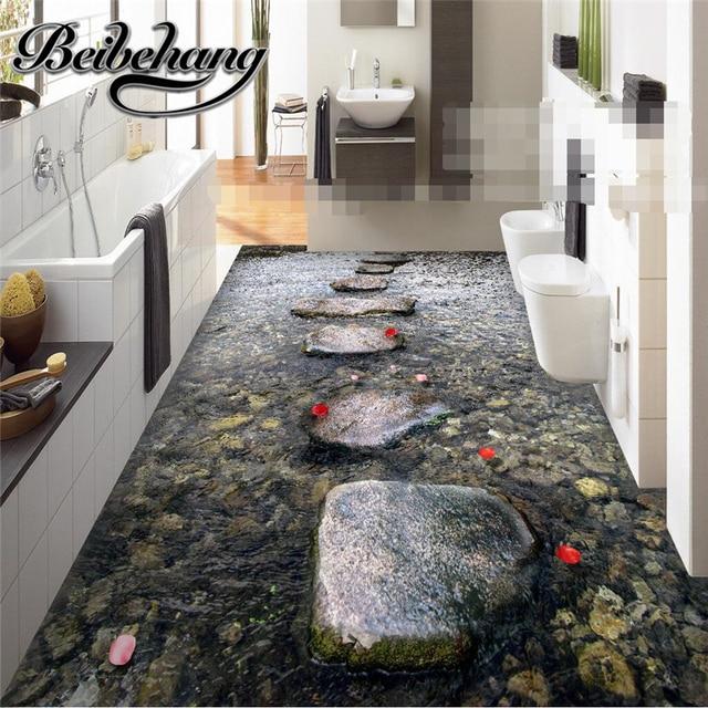Beibehang Custom Boden Malerei 3D Moderne Kunst Creek Pflastersteine Bad  Boden Mural 3d PVC Tapete