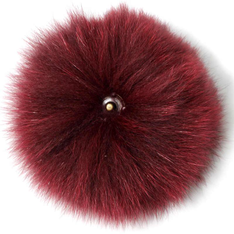 Echte Vos Bont Pompom Voor Vrouwen Hoeden Caps Grote Natuurlijke Wasbeer Bont Pompon voor gebreide mutsen Skullie 15CM hoge kwaliteit