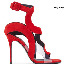 Aiyoway 2019 Spring Women Shoes Peep Toe High Heels Sandals Buckle Strap Red Blue Faux Suede Party Clubwear Dress Heels daniel chinese red faux suede 5 lounge pillow
