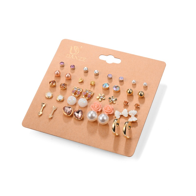 Hot 20 Pairs Pack Alloy Bow knot Pearl Crystal Stud Earrings Piercing Earrings Set for women