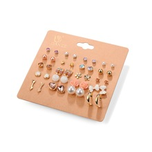 Hot 20 Pairs/Pack Alloy Bow knot Pearl Crystal Stud Earrings Piercing Earrings Set for women Elegant Jewelry Fashion Gifts