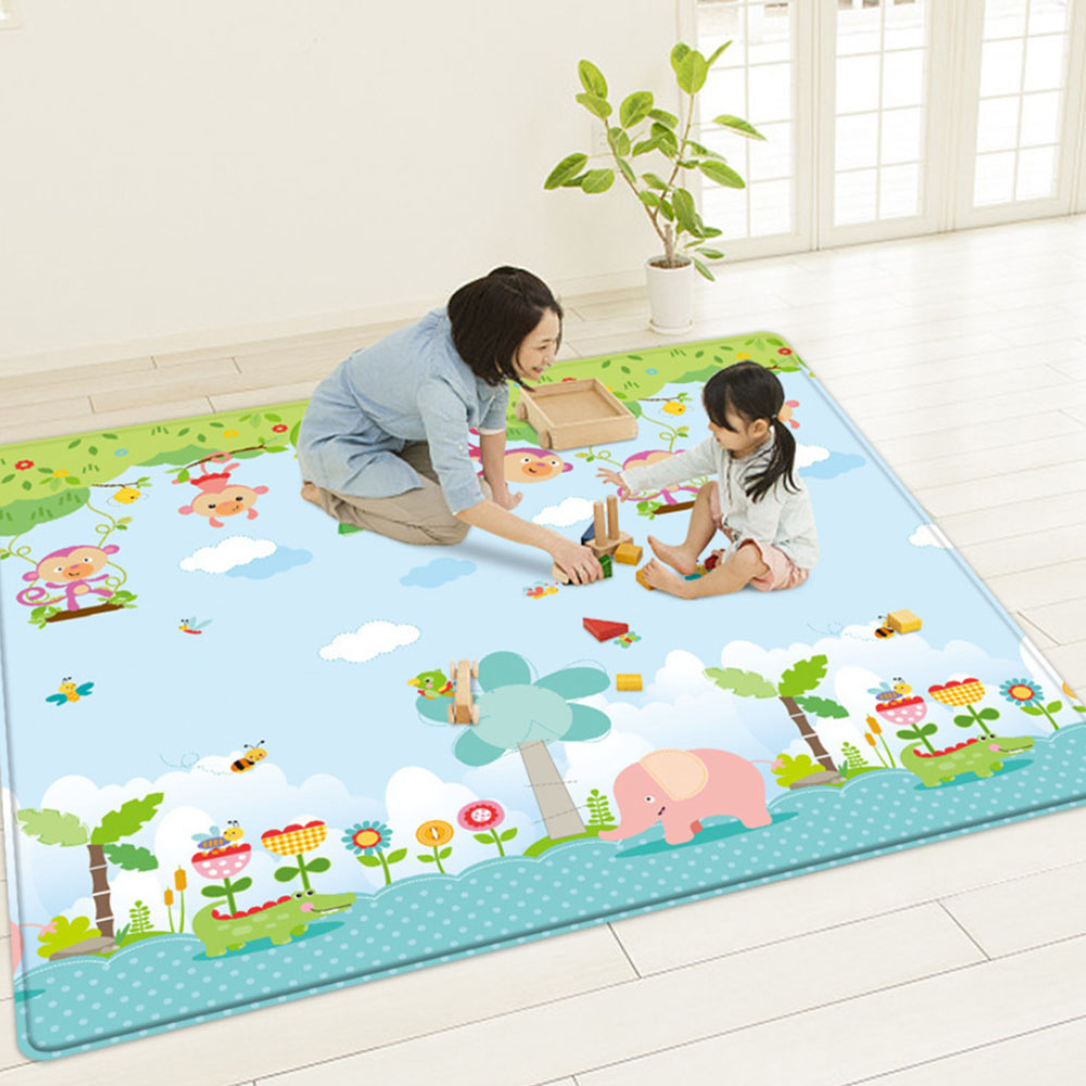 1cm Baby Play Mat Room Crawling Pad Folding Children Double Sided Durable Waterproof Foldable with Carry Bag