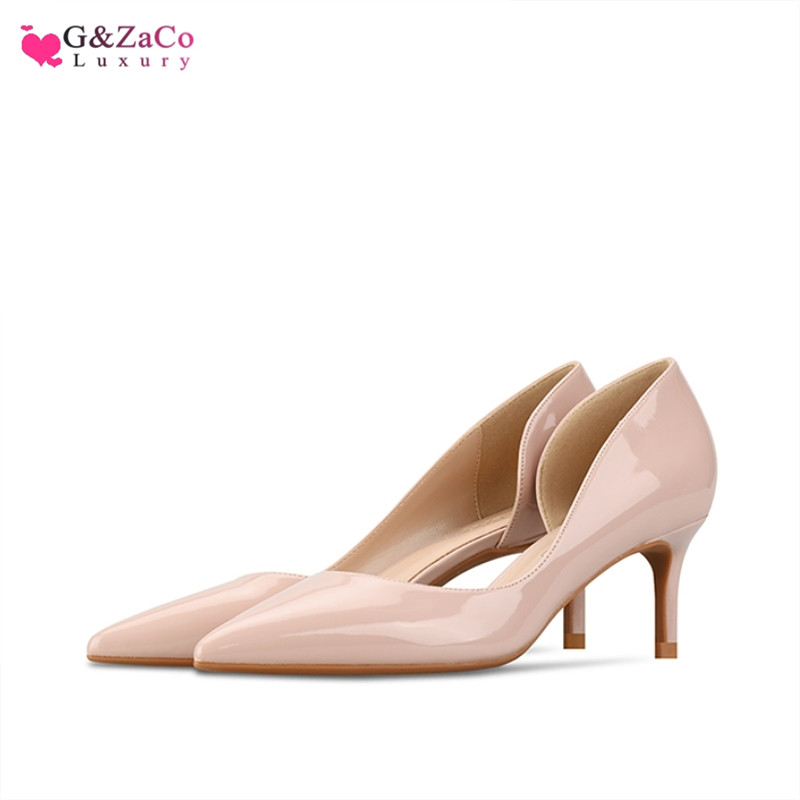G Zaco 2019 New Spring Low Heel Pumps Side Empty High Heels Shoes Thin Heels Sexy