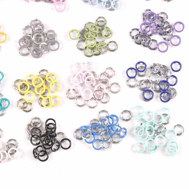 20 set (4 pz 1 set) 9.5mm multicolore del Metallo Prong Snap Bottoni Elementi di Fissaggio Presse Borchie Poppers Pagliaccetto Del Bambino Fibbia A Scatto cp2230