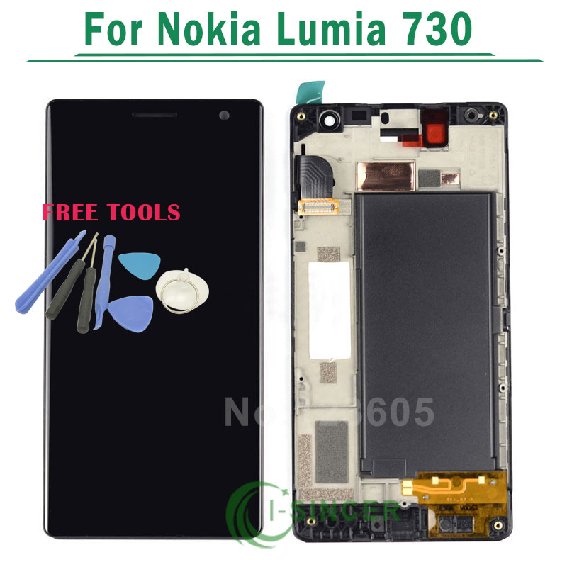 LCD For Nokia Lumia 735 730 LCD Diaplay Screen Touch Digitizer with frame Assembly Black Free shipping 5 pcs free dhl ems shipping replacement lcd display with touch screen digitizer frame for nokia lumia 730 735 lcd assembly tools