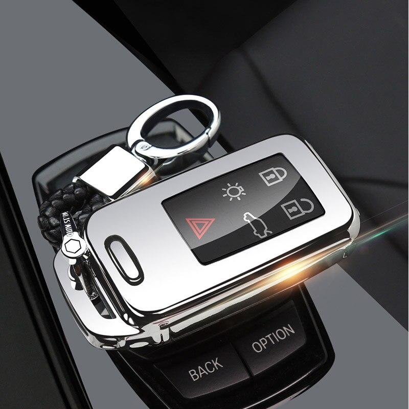 Защитный чехол ключа автомобиля чехол для VOLVO S60L S80L XC60 S60 V60 s90 cx60 xc90 vx90 стайлинга автомобилей смарт-ключ оболочки крышки брелок держатель - Название цвета: silver buckle set